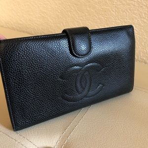 Authentic Chanel Black Caviar Skin Long Wallet